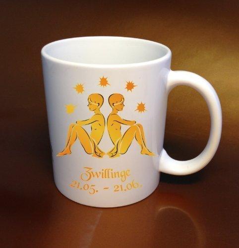 Tazza di caffè segno zodiacale gemelli giallo