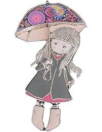 Diseño único esmalte Lovely broche, diseño de niña con paraguas señoras broches pines para mujeres y niños Regalos de Navidad
