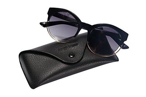 SHINU Frauen Sonnenbrille Retro Round Brille Feld Gläser für Frauen Horn Umrandeten Vintage Sonnenbrillen UV400 Brillen-SH71018 (Umrandeten Für Frauen Brille Horn)