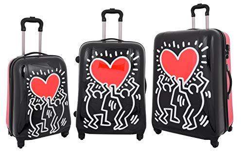Robust Harte Schale Koffer Tanzendes Herz 4 Rad Gepäck TSA-Schloss Zip Around Tasche HLG280 Schwarz (Full Set) (Schwarz Gepäck-sets Auf Verkauf)