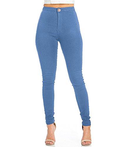 Jeans elasticizzati donna vita alta skinny jeans leggins donna stretti pantaloni push up (s, light blue)