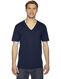T-shirt col V à rayures en coton jersey fin