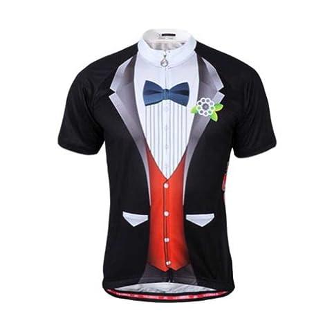 TOPTIE Biking Cycling Jersey, Groom Tuxedo Print - L,Red