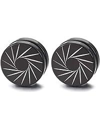 3e87f85e847c Acero Negro Magnética Círculo Cruz Pendientes con Molinos de Viento  Patrones Láser