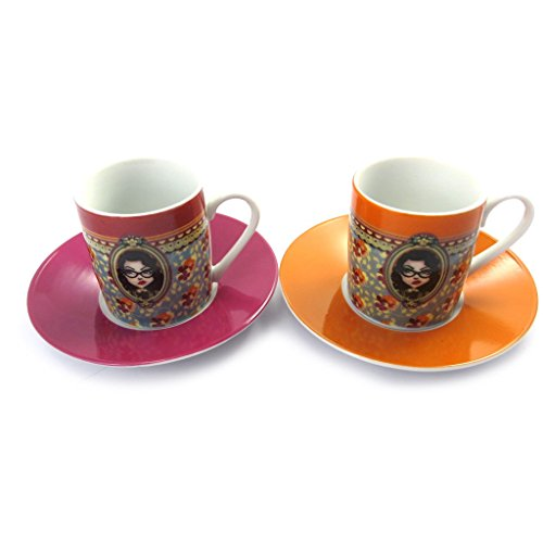 Lili Petrol [M6362 - Set 2 Becher 'Belle Epoque' rosa orange.