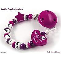"""Schnullerkette mit Namen für Mädchen - max. 7 Buchstaben - Herz"""" Kleines Wunder der Welt"""" Stern - dunkelpink, beere, lila weiß tolles Geschenk zur Taufe Geburt fürs Baby - Holzbuchstaben"""
