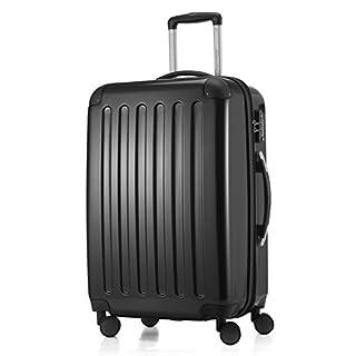 HAUPTSTADTKOFFER - Alex -  4 Doppel-Rollen Hartschalen-Koffer Koffer Trolley Rollkoffer Reisekoffer, TSA, 65 cm, 74 Liter, Schwarz