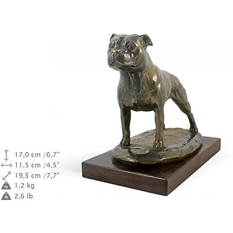 Staffordshire Bull Terrier, statua del cane in base legno, ArtDog