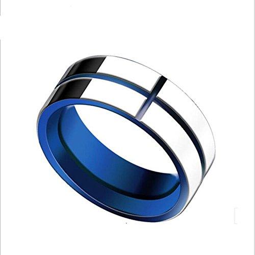 Coface 6mm Hartmetall -Ring Silber & Blau Poliert Wedding Band Ring 12 #