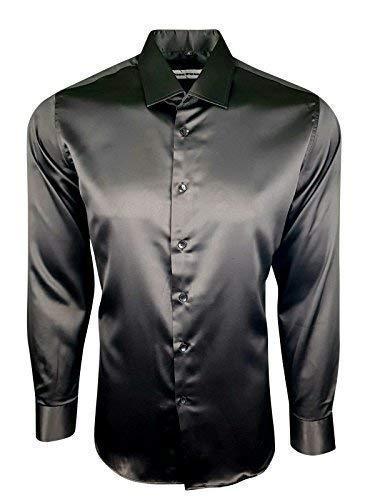 Dominic stefano 422 - camicia da uomo in raso e seta lucida, stile casual nero s