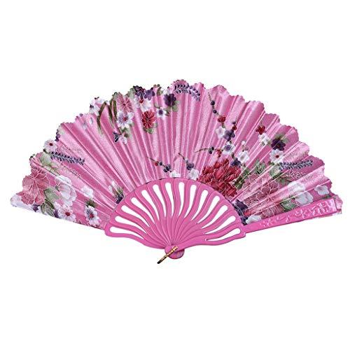Preisvergleich Produktbild MOTOCO Damen Faltfächer Blumenmuster Seidenfächer Handfächer Eleganter Tanzfächer Hochzeitsdekoration