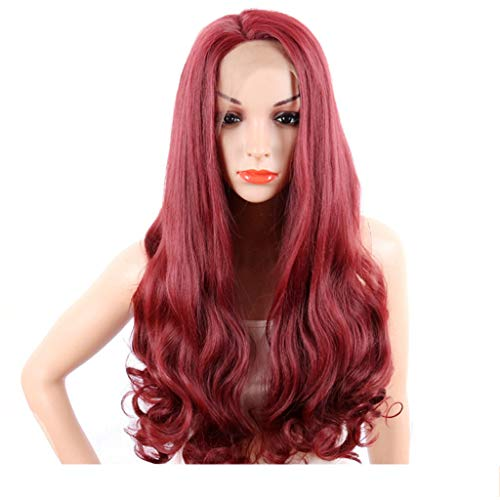 ZHAO YING Rote Hochtemperaturseide Kopfbedeckung Front Lace Chemiefaser Haube Synthetische Lace Front Perücke Leistung Cosplay (Color : Red) -