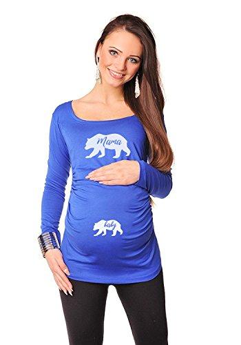 blau, Mamabär, 36, Umstands T-shirt / Schwangerschafts T-shirt bellyt