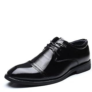 Jingkeke Herren Cap-Toe Business Oxfords Blockabsatz Schnürsenkel Vamp Formelle Schuhe auffällig (Color : Schwarz, Größe : 43 EU)