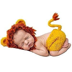 NO BRAND Disfraz de Accesorios de fotografía para recién na Baby Costume Prop Recién Nacido Baby Girls Boys Crochet Knitted Photo Photography Atrezzo Hecho a Mano Baby Hat + Pants Cómodo 16