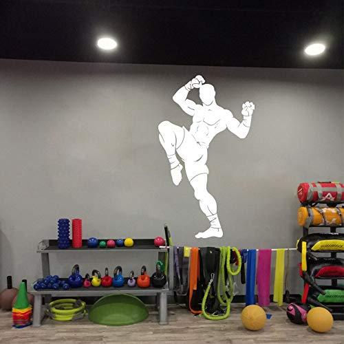 yiyitop Große Kämpfer Martial Muay Thai Wandtattoo Gym Workout Kickboxen Karate Taekwondo Boxen Sport Athlet Wandaufkleber Vinyl Kunst 94 * 56 cm -