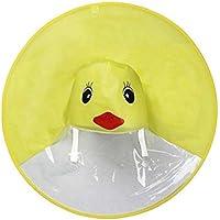 BaZhaHei,Patito Capa de Lluvia UFO Paraguas Sombrero mágico Manos Libre Impermeable Impermeable de Dibujos Animados para Niños con Easy Carry Pouch Niños Niñas Impermeable Paño de Animal Color Shirt
