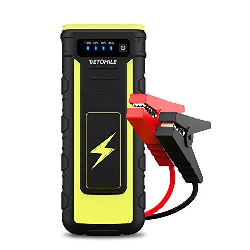 Preisvergleich Produktbild VETOMILE 21000mAh 800A Auto Starthilfe mit LED Taschenlampe (Tragbare Jump Starter, 800A Spitzenstrom, 12V, 2 * USB Anschlüsse, bis zu 6.5L Gas, 3.0L Diesel Auto, 12V Motorrad, ATV Yachtboot)