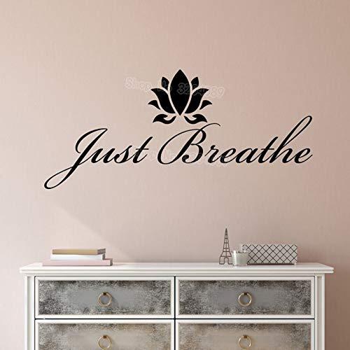 Einfache Vinyl Wandtattoo Aufkleber Motivation Zitat Yoga Entspannende Worte Inspiration Atmen Buchstaben Dekoration Kunst Wandbilder 57X25CM