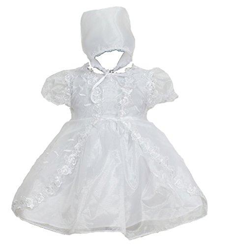 Cinda Baby Mädchen Taufkleid, Kap & Hut Weiß 68-74