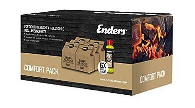 Enders 6 x 150g portionierte Buchen-Holzkohle und Anzündpaste 200 ml, Anzünder, Brennpaste Grillkohle für raucharmes Grillen Comfort Pack für Aurora rauchfreier Tischgrill, Braun