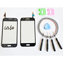 JRLinco ParaSamsung Galaxy Core Prime G360 Pantalla de Cristal Táctil, Pieza de Recambio touchscreen glass display(Sin LCD) Para Negro + Herramientas y Adhesivo de Doble Cara + Paquete de Limpieza