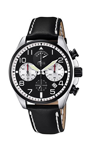 Lotus Men's Quartz Watch with Black Dial Chronograph Display and Black Leather Strap 10127/1