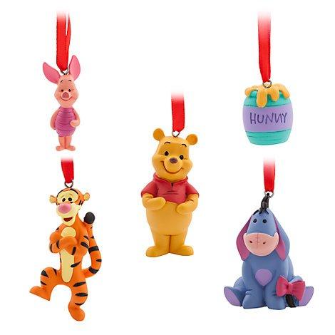 Pooh Figur The Winnie Kostüm - Unbekannt Winnie The Pooh zum Aufhängen Ornaments, Set von 5, Weihnachten Ornament, offizielles Disney
