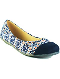 Kraft Cellar Blue Floral Casual Fabric Bellerina Shoes Flats For Women/Girls -Mughal Abstract