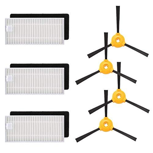 Ensemble filtre / brosse de rechange pour robot et robot aspirateur, Kit d'accessoires pour robot aspirateur Parkomm pour Ecovacs Deebot N79 & N79s, 3 filtres et 4 brosses latérales