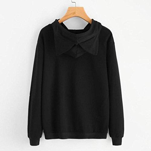 Bonjouree Sweat Capuche Femme Pull Sweatshirt Ado Fille Imprimé Chat/Panda/Lapin Noir C