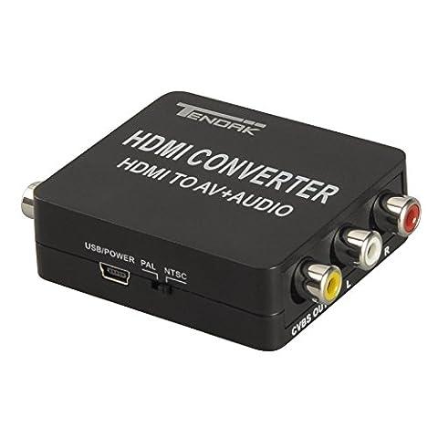 Tendak 1080P HDMI zu AV 3RCA CVBs Composite Video mit Audio Toslink SPDIF Koaxial Konverter Adapter Unterstützt PAL/NTSC mit USB Ladekabel für PC Laptop Xbox PS4 PS3 TV STB VHS Videorecorder Kamera DVD