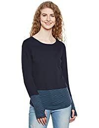 39513e5634ee8 Hypernation Navy Blue and Turquoise Stripe Round Neck Thumb Insert Cotton  Blend T-Shirt for