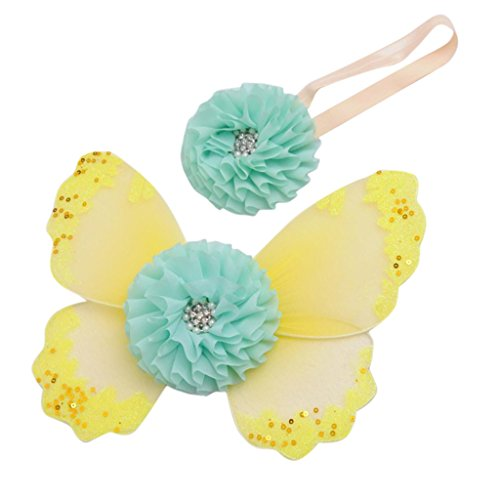 Baby-Foto Requisiten Neugeborene baby fotoshooting Fotografie Kostüm Blumen Stirnband Butterfly Wings - Gelb, one ()
