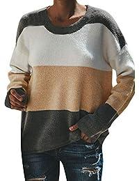 MYMYG Frauen lässig Sweatshirt Langarm O Neck Stitching Farbe Gestreifte Bluse Tops Tunika Top Oversized Tops T-Shirt Oberteile Baggy Jumper Top Winterpullover Kontrastfarbig Langarmshirt Pulli