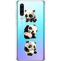 Oihxse Cristal Compatible con Huawei P8 Lite 2017 Funda Ultra-Delgado Silicona TPU Suave Protector Estuche Creativa Patrón Panda Protector Anti-Choque Carcasa Cover(Panda A10)