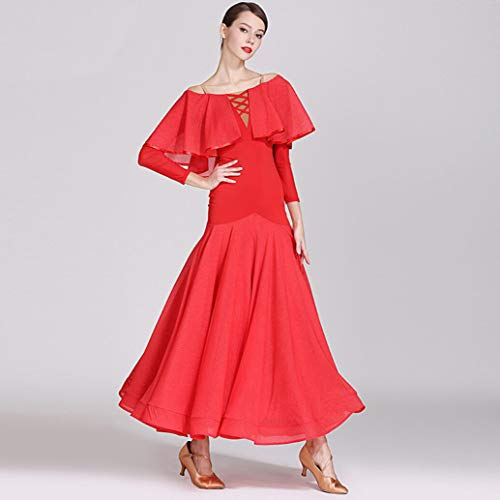 Z&X Modern Dance Kleid für Frauen Große Pendel Rock Ballsaal Kostüm Wettbewerb Nylon Ice Silk/Bright Silk Pleats,red,M