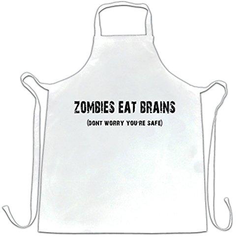 Halloween Schürze des Chefs Zombies essen Gehirne du bist sicher White One Size