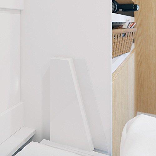 Schrankbett 160×200 cm vertikal Weiß Hochglanzfront MDF mit Gasdruckfedern, ideal als Gästebett – Wandbett, Schrank mit integriertem Klappbett, SMARTBett - 5