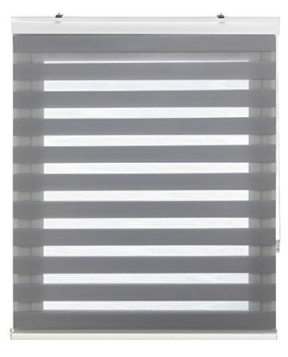 Blindecor Vela - Estor enrollable Doble Tejido, Noche y Día, 140 x 180 cm, Color Gris