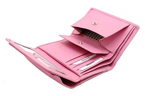 Signore progettista mini morbida borsa di cuoio della carta di credito portafoglio, identità & taschino scatola regalo da StarHide # 5545 Rosa