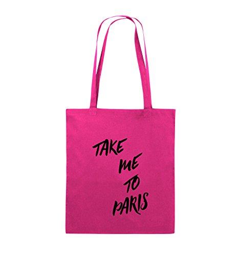 Comedy Bags - TAKE ME TO PARIS - Jutebeutel - lange Henkel - 38x42cm - Farbe: Schwarz / Pink Pink / Schwarz