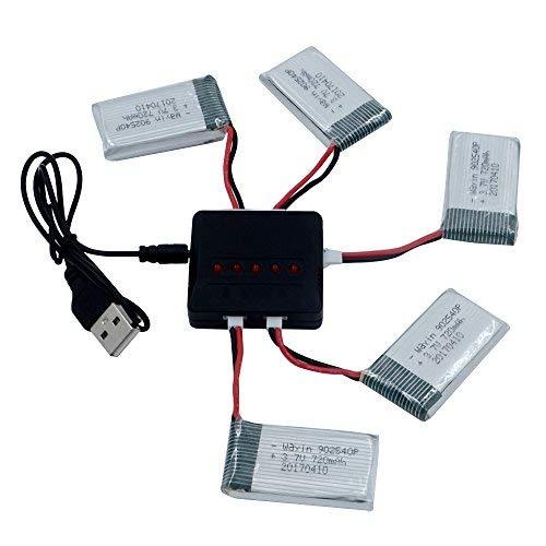 WayIn 5pcs 3.7V 720mAh Lipo Batteries + 5 en...