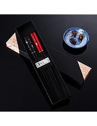 2 paires de baguettes Baguettes japonais nature de boîte en bois cadeau écologique Hotel Restaurant Baguettes Situé dans un chic tiges haut de gamme (rouge + noir)