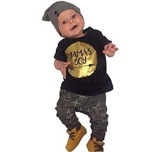 Bekleidung Longra Neugeborenes Kinder Baby Jungen Kurzarm T-shirt Tops + Hosen Outfits Sommer Kinderkleidung Set (0-3Jahre) (70CM 12 Monate, Black)
