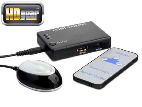 HDGear HSW0301 - 3x1 HDMI Switcher mit integriertem Signalverstärker. 3x HDMI A Buchse (In) auf 1x HDMI A Buchse (Out). Farbe: Schwarz / Silber.