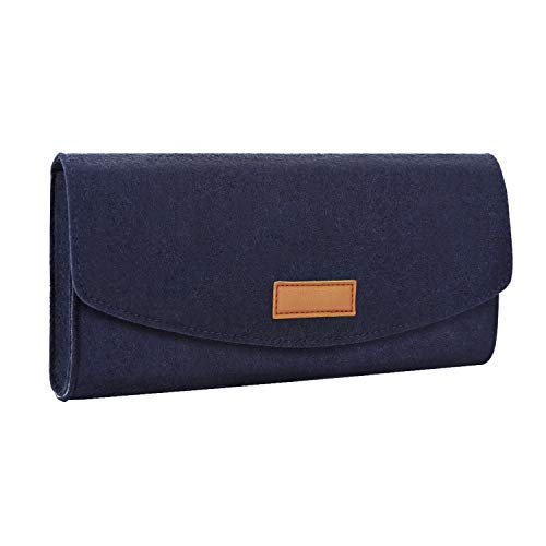 MoKo Aufbewahrungstasche Kompatibel mit Nintendo Switch, Tragbare Filz-Schutztasche Travel Slim Case mit Game Cartridge-Karten für Switch - Indigo