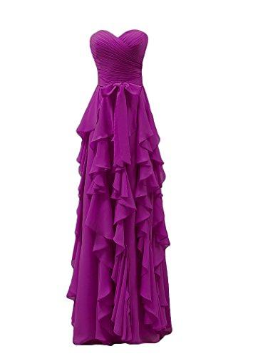 Bridal_Mall -  Vestito  - linea ad a - Senza maniche  - Donna rosa fucsia