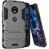 Mobiclonics® Flip Kick Stand Spider Hard Dual Rugged Armor Back Case Cover For Motorola Moto G5 Plus(Grey)