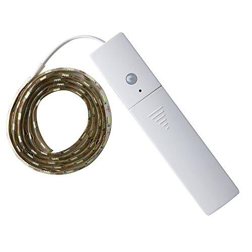 LED Streifen Unterbauleuchte Warmweiß, MIRI LED Strip Kabellose Hintergrundbeleuchtung, batteriebetriebenes Nachtlicht mit Bewegungssensor, 3 Modi Schalter, LED Lichtleiste für Deko, 1M